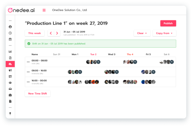 OneDee Weekly shift